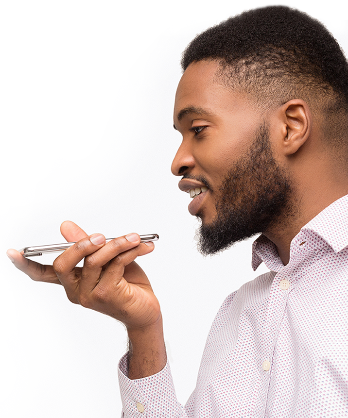 Male Customer using Voice to Text Feature